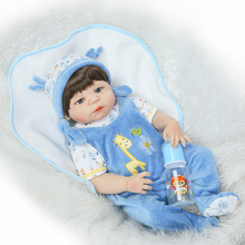 "22"" real silicone body doll reborn bebe boy girl reborn babies bonecas pasted wig  fashion dolls toys gift high quality"
