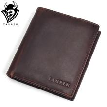 Buy TAUREN Men Wallets Vintage Crazy Horse Genuine Leather Zipper Wallet Card Holder Coin Pocket Men's Purse Male Carteira for $11.80 in AliExpress store