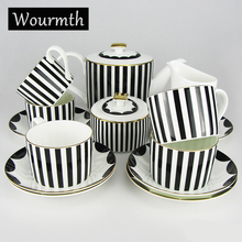 Wourmth Coffee cup set coffee pot coffee jug cup saucer set Porcelain coffee set bone china flower design embossed outline in go