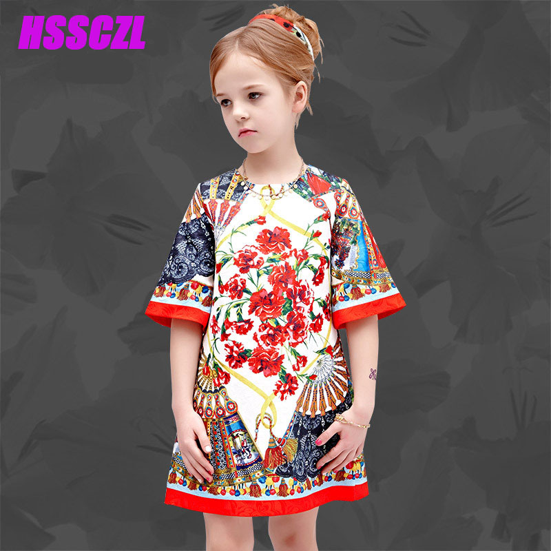 2017 Spring new girl dress Printed short-sleeved girls kids dress Fall wild flowers Floral princess High-end childrens clothing<br><br>Aliexpress