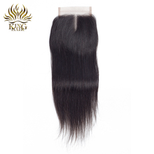 King hair Peruvian human hair closure 4*4 bleached knots Straight Remy hair middle part natural black Lace Closures