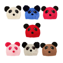 MACH Lovely Animal Panda Baby Knitted Hats Kids Winter Keep Warm Crochet Beanie Caps(China)