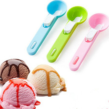 1 Pc Candy Color Plastic Ice Cream Spoon Digging Watermelon Pitaya Muskmelon Scoops Spherical Shape Cooking Tools