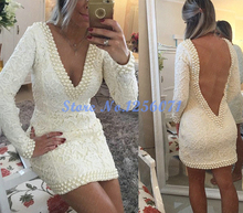 Sexy Backless Elegant Cocktail Dresses 2017 Beading V Neck Cocktail Dress robe den cocktail vestidos de coctel Short Prom Gwon(China)