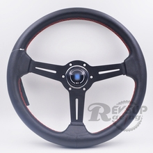 14'' 350mm Black Real Leather ND Rally Tuning Drift Racing Steering Wheel