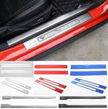 Newest Door Sill Plate Covers Entry Guards Red Blue Silver Aluminum / Stainless For Ford Mustang 2015 16 17 Up Free Shipping