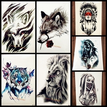 Tribal Wind Wolf Temporary Tattoo Stickers For Women Men Body Art Arm Black Waterproof Tattoo Paste 21*15CM Black Fake Tatoos