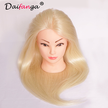 "Blonde Mannequin Head with Hair 22"" Hairdressing Doll Heads 80% Human Hair Styling Head Mannequin Practice Dolls Head Hair"