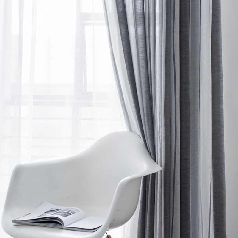 Simple Stripes Curtains Flower Print Window Curtain Tulle Voile Drape Panel Sheer House Office Scarf Valances Home Decor
