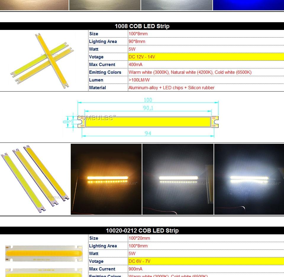 COB LED Strip Light Lamp Bulb 10W 20W 30W 50W Warm Natural Cold White Blue Red Chip On Board LED Matrix Lighting 1-50W (6)