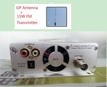 15W FM broadcast transmitter ST-15B stereo PLL fm radio broadcast station with 87MHz-108MHz-100khz + GP antenna