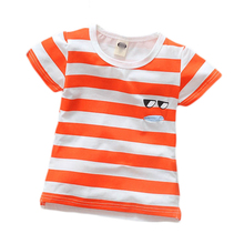Children Clothing Fashion Summer Kids Casual Cotton Striped Candy Color Short Sleeve Boys T-shirts Sweet Glasses Mouse Tee Shirt