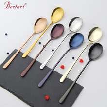 2PCS Stainless Steel Colourful Spoons Korea Dark Black Soup Spoon Long Handle Gold Spoon Set for Ice Cream gold tableware(China)