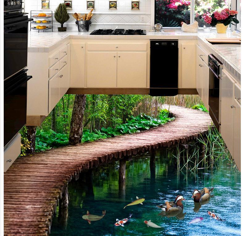 Modern Floor painting Bridges 3 d bathroom floor  Mural-3d PVC Wallpaper Self-adhesive Floor Wallpaper-3d<br>