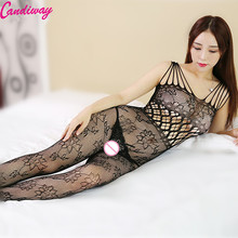 Buy Sexy Open Crotch bodystockings Fishnet Body Stocking Female Erotic Costumes Sexy Lingerie Women Underwear Sex Bodysuit Catsuit