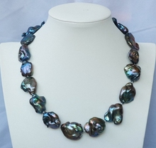 Free shipping!!!20X26mm Black baroque Keshi pearl necklace