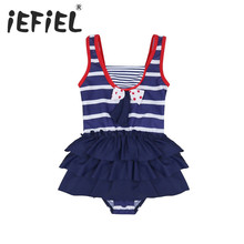 2017 iEFiEL Kids Toddler Girls One Piece Striped Swimsuit Bather Girls Clothes for Summer Surfing and Beaching Swimming Holiday(China)