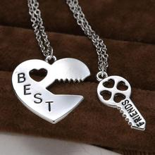 Vintage Puzzle  Pendant Necklace Handstamped Best Friends Jewelry Key&Heart Charms Couple Friendship Necklaces Pendants Engraved