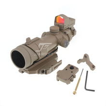 JJ Airsoft ACOG Style 4x32 Scope Red/Green Reticle/Illumination with Mini Red Dot and Killflash, Bobro Style QD Mount (Tan)