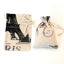 50pcs/lot Black Pattern Cotton Gift Bags 10x14cm Drawstring Pouches natural Linen cotton bag small jewelry packaging bag pouch