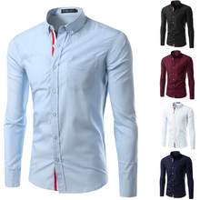 30%OFF HOT SALE Solid Color Chemise Homme Men Shirt mens dress shirts Casual Camisa Masculina Long Sleeve Shirts Slim Fit
