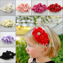 NEW   flower Headband for Photography props Fabric Satin Flower Headbands with Acryl diamond 10pcs/lot