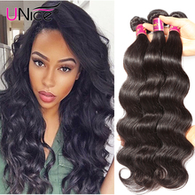 UNice Indian Virgin Hair Body Wave 3pcs Natural Human Hair Extensions 7A Unprocessed Indian Body Wave Bundles Raw Indian Hair