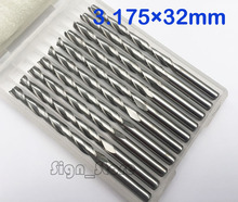 10pcs/lot 3.175 X 32mm Carbide CNC Two Flute Spiral Bits for Cutting Router End Mill CUTTER Tool From Factory Free Ship