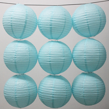 10 Pieces 6-16 Inch Sky Blue Chinese Round Paper Lanterns For Art Home and Wedding Party Decoration Paper Lanterns