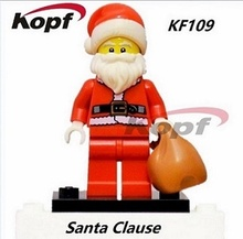 DHL 500pcs Building Blocks Santa Clause Figures Christmas Stockings With Bag Bricks Christmas childrens education Toys KF109