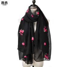 YI LIAN Brand Embroidery Floral Elegant Classic Scarf Women Long Fashion Winter Beautiful Lady Scarf Shawl SF1051(China)