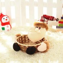 Merry Christmas Candy Storage Basket Decoration Santa Claus Bamboo Storage Basket Gift panier de rangement #XT(China)