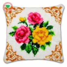 Flowers Rose Diy Needlework Pillowcase cross stitch Latch hook rug kits thread embroidery kit Carpet embroidery Hooby Decoration