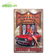 "Wholesale American Muscle Car Vintage Home Decor Tin Sign 8""x12"" Retro Bar/Garage Wall Decor Metal Sign Decorative Metal Plate(China)"
