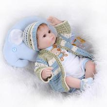 "Silicone reborn babies for girl, lifelike 18"" reborn baby doll with new knitting clothes boneca brinquedos toys for children(China)"