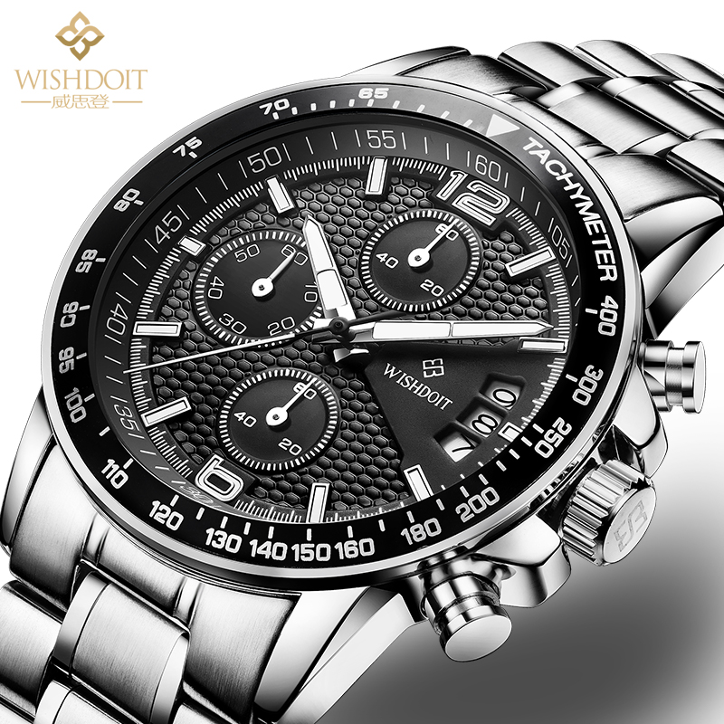 Watch Brand WISHDOIT Quartz Watch Men Steel Fashion Clock Male Waterproof Watches With Complete Calendar fashion masculino uhr<br><br>Aliexpress