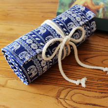 Cute blue elephant Canvas Pencil Case 36/48/72 Holes Roll School Pencil Bag material escolar School Supplies estuche escolar