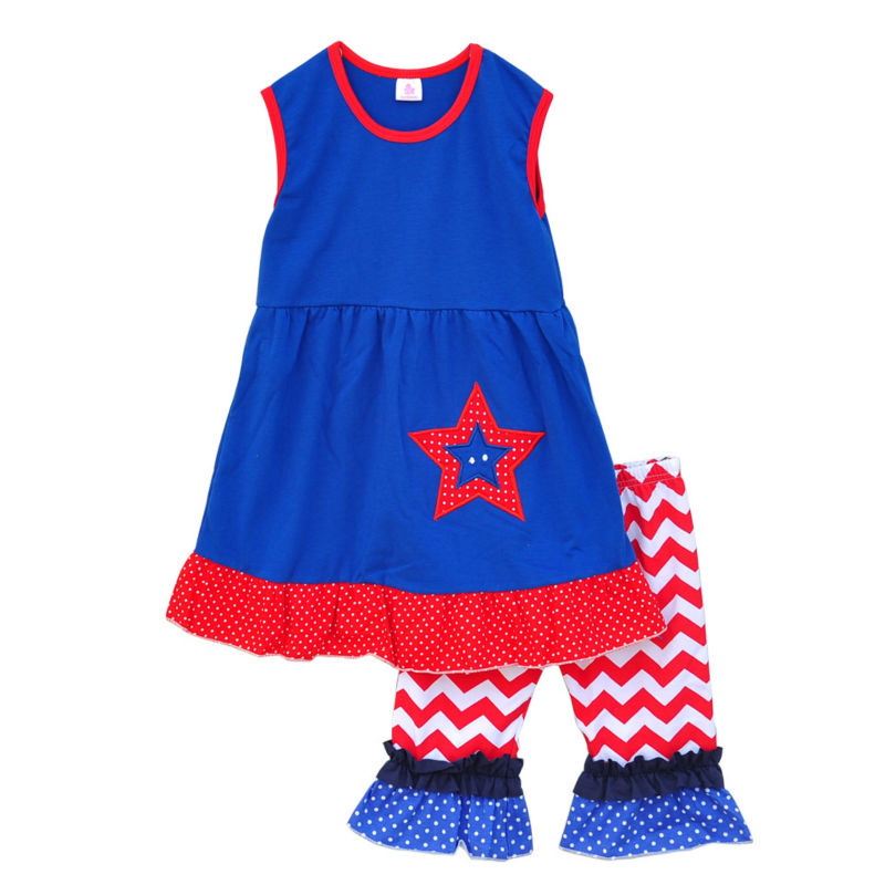 July 4th Special Girl Dress A-lined Red Bottom Patchwork Hem Star Embroidered Striped Ruffle Capris Children Clothing J001<br><br>Aliexpress