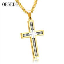 OBSEDE Punk Cross Necklace for Men Stainless Steel Wire Pendant Christian Jewelry Silver/Black/Gold Color New Arrival Wholesales(China)