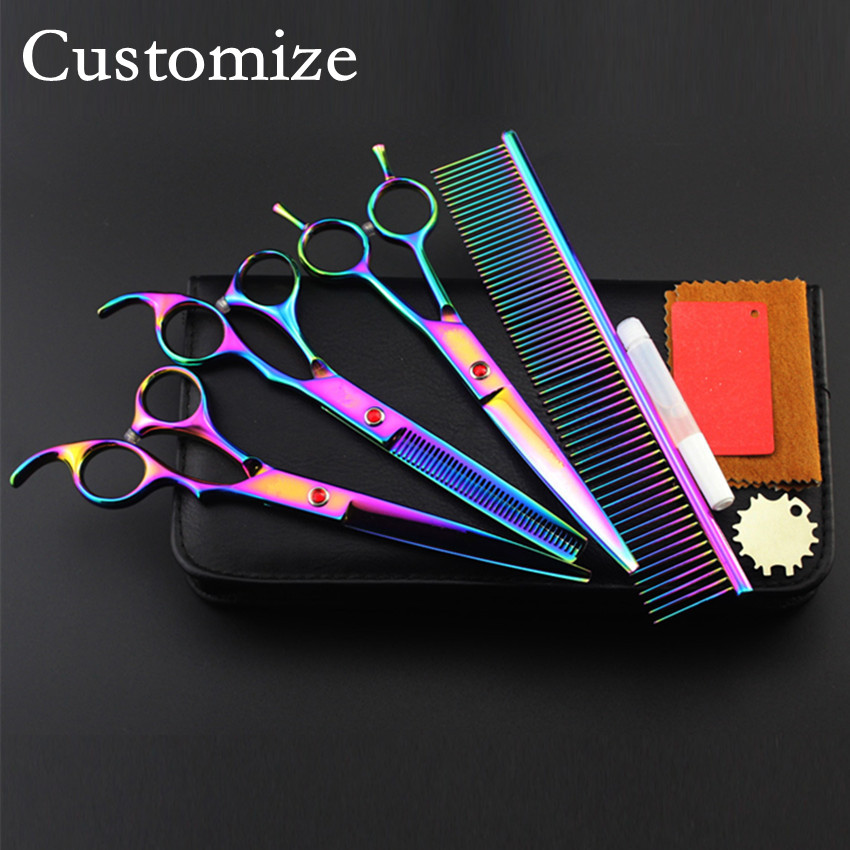 Customize 4 kit japan 440c Pet 8 inch shears dog grooming hair scissors thinning cutting barber tools hairdressing scissors set<br>
