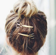 2016  Gold silver Scissors HairPins Shears Clip For Hair Tiara Barrettes Headdress Vintage Simple Head Jewelry best Friends gift