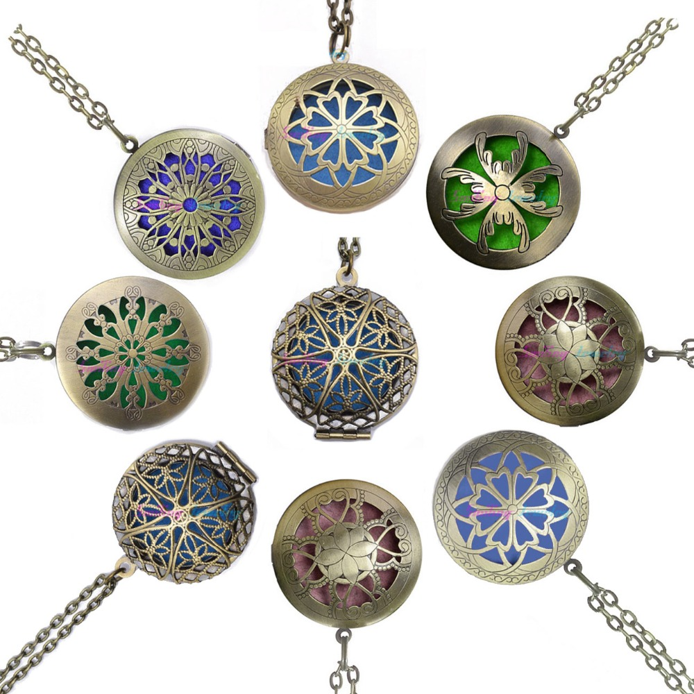 1pc 28' Chain Pads Antique Bronze Aromatherapy Lockets Pendants Essential Oil Diffuser Perfume Aroma Locket Necklace(China)
