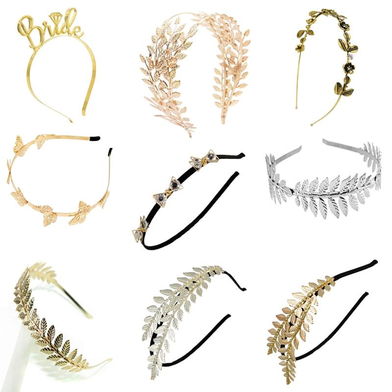 Narrow Leaf Metal Greek Roman Headband Gold or Silver Girls Hair Accessory New