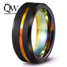Queenwish Rainbow Tungsten Rings 8mm Mens Tungsten Wedding Ring Rainbow Anodized Groove Center and IP Plating Mens Jewelry(China)