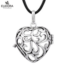 Angel Caller Heart Shape Pregnancy Pendant Necklace Harmony Ball Cage 20mm For Baby Sounds Chime Ball Mexican Bola Jewelry