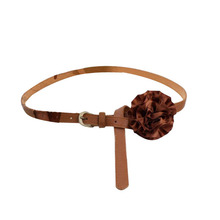 2016 New Arrvial Women Brown Faux Leather Slender Buckle Belt Waistband with Satin Flower Hot Sale Factory Direct Price DM#6