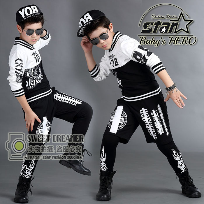 2016 Brand Childrens Hip-Hop Clothing Sets Kids Jazz Dance Clothes 2 Pcs Boys Girls Fashion Streetwear Harem Pants Twinset<br>