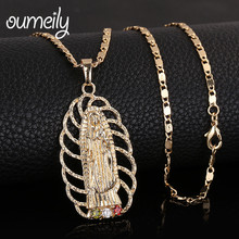 OUMEILY Hollow Virgin Mary Necklace Pendant For Women Men Turkey Egypt Arabic Gold Color Jewelry Imitation Crystal Jewellery