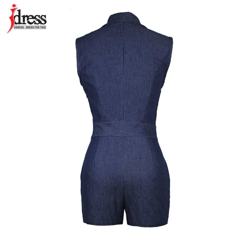 IDress Summer Deep V Neck Zippers Women Denim Playsuit Sleeveless Pockets Short Pant Ladies Bodycon Jumpsuit Party Romper Overall (4)