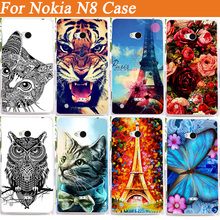 Patterns fashion hot sale Lion flowers Eiffel Towers Design Back Cover case for NOKIA N8 Case Cover For Nokia n8 free shipping
